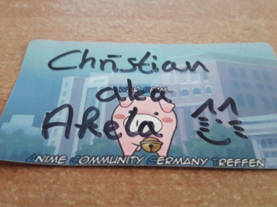 Mein erstes Namensschild des ACG's <3