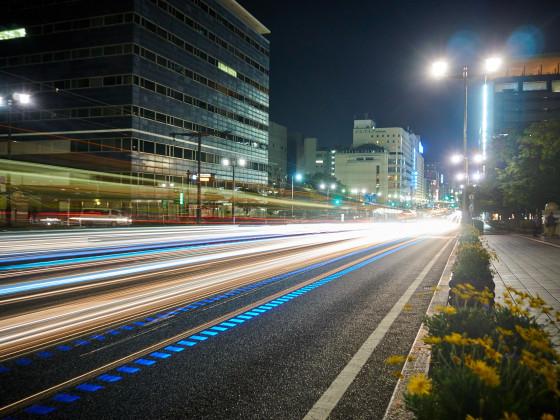 Langzeitbelichtung auf der Aioi-Brücke in Hiroshima
