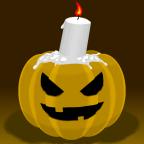 Kürbis mit Gesicht und Kerze